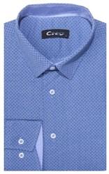 Приталенная хлопок стреч мужская рубашка 8LCR28-5-pp CITY RACE BROSTEM