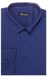 Приталенная хлопок стреч мужская рубашка 8LCR32-2-pp CITY RACE BROSTEM