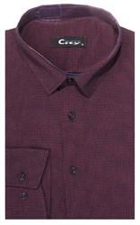 Приталенная хлопок стреч мужская рубашка 8LCR32-3-pp CITY RACE BROSTEM