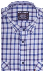 Хлопковая мужская рубашка в клетку классического силуэта SH771 BROSTEM