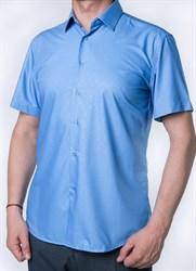 Голубая рубашка приталенная