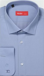 Синяя однотонная рубашка ВЕСТЕР