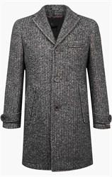Серое твидовое пальто мужское