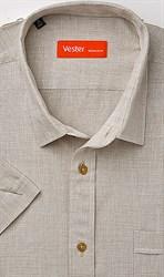Бежевая большая рубашка VESTER короткий рукав