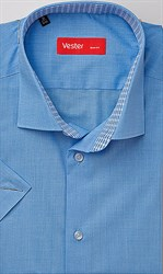 Синяя рубашка большого размера короткий рукав