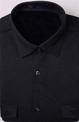Однотонная синяя рубашка на флисе