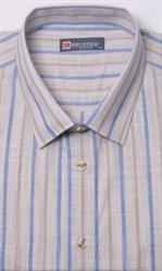 Бежевая рубашка в полоску на полных