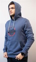 Толстовка худи синяя мужская с капюшоном