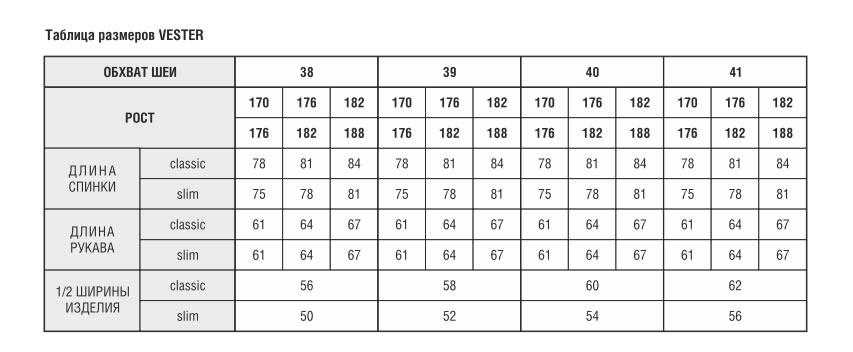 557bdc161088 Таблица соответствия размеров мужских рубашек VESTER